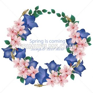 Spring is coming card with cherry flowers wreath Vector. Realistic detailed illustration - frimufilms.com