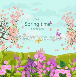 Spring time card with flowers Vector. floral background Flat style - frimufilms.com