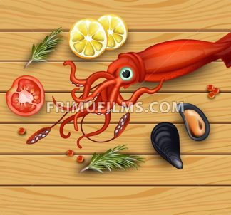 Squid and mussels seafood on wood background. Vector realistic detailed illustration - frimufilms.com