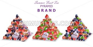 Summer fruits tea packs Vector. Pyramid design fresh fruits mixes - frimufilms.com