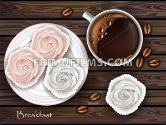 Sweet meringues and coffee Vector. Realistic 3d illustration. Top view - frimufilms.com