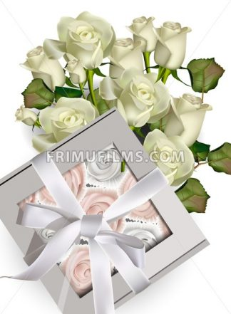 Sweet meringues gift box and white roses bouquet Vector illustration - frimufilms.com