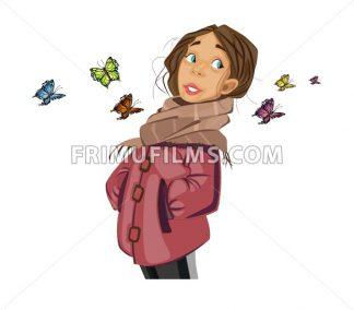 Teenage Girl cartoon character and butterflies Vector. Spring season mood - frimufilms.com