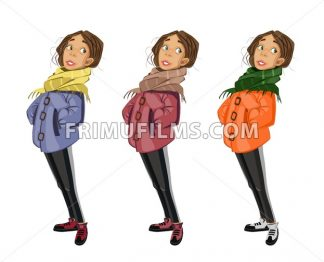 Teenage Girl cartoon character set Vector. Colorful collection - frimufilms.com