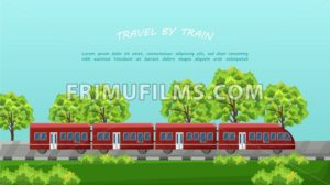Train traveling Vector. Red vehicle on Beautiful green background - frimufilms.com