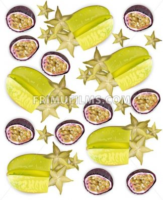 Tropic fruits pattern Vector realistic. Starfruit, passion fruit, physalis - frimufilms.com