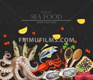 Tuna fish, caviar, squid, oysters and octopus seafood banner. Template, layout, flyer Vector realistic detailed illustration - frimufilms.com