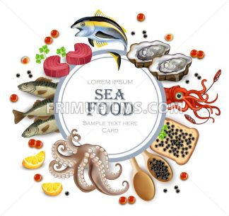 Tuna fish, caviar, squid, oysters and octopus seafood round banner frame. Template, layout, flyer Vector realistic detailed illustration - frimufilms.com