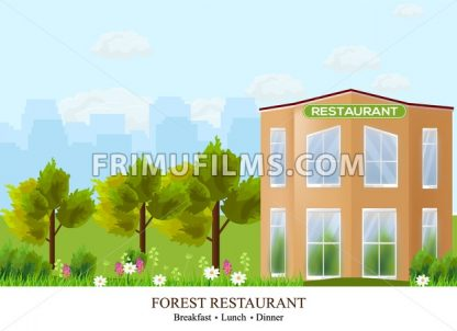 Vector Facade Restaurant architecture. Beautiful building in the forest illustration - frimufilms.com