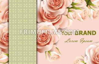 Vector delicate roses floral background. Abstract elements decor. 3d realistic floral design - frimufilms.com