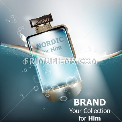 Vector realistic perfume bottle mock up. Product packaging detailed cosmetics. Water background - frimufilms.com