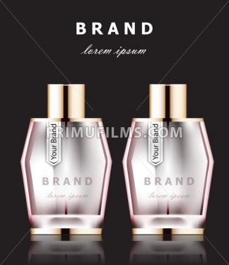 Vector realistic pink perfume bottles mock up. Product packaging detailed cosmetic aroma. dark background - frimufilms.com