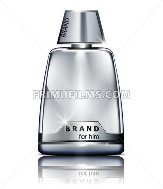 Vector realistic silver perfume bottle mock up isolated on white. Product packaging detailed cosmetic - frimufilms.com