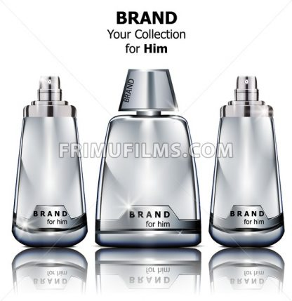 Vector realistic silver perfume bottles mock up. Product packaging detailed cosmetic - frimufilms.com