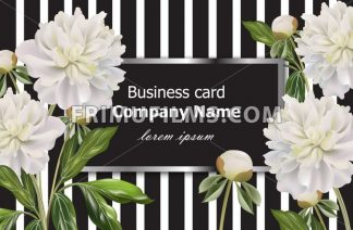 Vintage Business card with white peony flowers on striped background. Vector realistic floral decor, 3d illustration - frimufilms.com