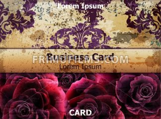 Vintage business card with Rose flowers Vector. template layout card - frimufilms.com