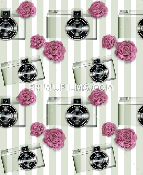 Vintage camera pattern Vector. Abstract background with roses. Detailed 3d illustration - frimufilms.com
