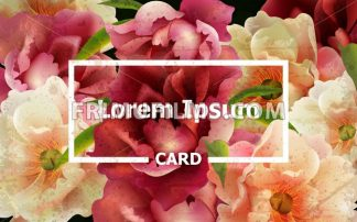 Vintage card with colorful peony flowers Vector. template layout card - frimufilms.com