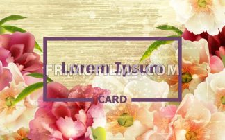 Vintage card with peony flowers Vector. template layout card - frimufilms.com