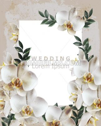 Vintage frame with realistic orchid flowers Vector. Wedding Invitation delicate floral decor. Old Grunge effect. 3d illustration - frimufilms.com