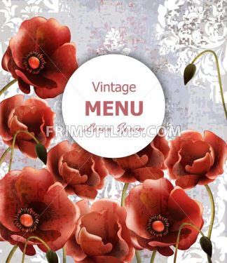 Vintage poppy flowers card Vector. Detailed illustration - frimufilms.com