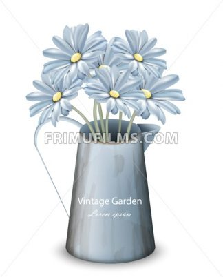 Vintage spring flowers background Vector. Blue daisies floral bouquet. Retro style decor - frimufilms.com