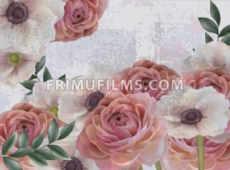 Vintage spring flowers background Vector. Roses and poppy floral pattern. Retro style decor - frimufilms.com