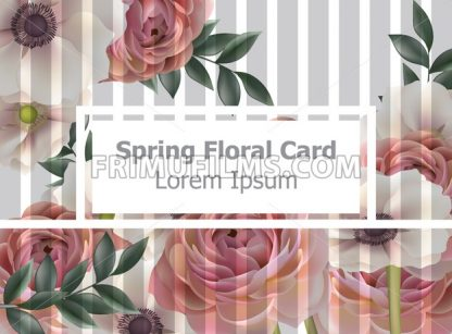 Vintage spring flowers card background Vector. Roses and poppy floral pattern. Retro style decor - frimufilms.com