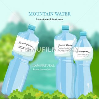 Water bottles Vector. Mountain fresh water Detailed product packaging - frimufilms.com