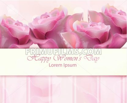Watercolor roses Vector card. Happy Women day illustration - frimufilms.com