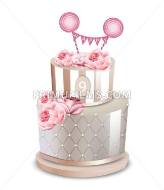 Wedding cake Vector realistic. Anniversary, birthday, ceremony modern desserts. White luxury cake with rose flower - frimufilms.com