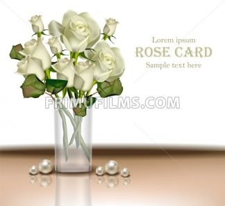 White Roses flowers bouquet Vector realistic. 3d detailed illustration - frimufilms.com