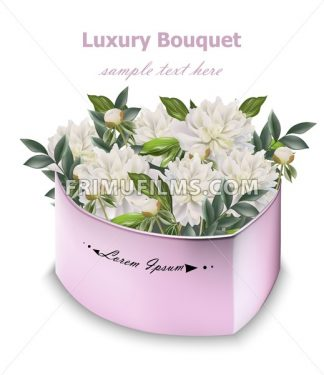 White peony flowers bouquet Vector. Floral decor in a gift box - frimufilms.com