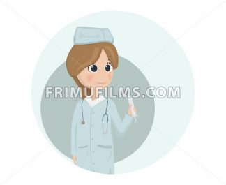 Woman doctor or nurse Vector illustration. Cartoon character - frimufilms.com