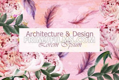 Architecture and design creative card Vector. Flowers and feathers decoration background. Pink delicate color - frimufilms.com