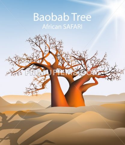 Baobab tree Vector safari background. Hot sunny day and sand dunes illustration - frimufilms.com