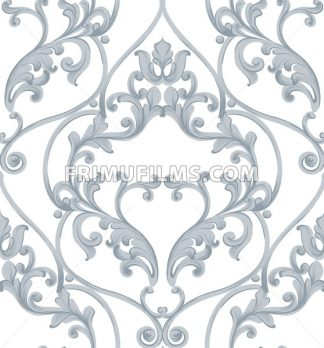 Baroque texture pattern Vector. Luxury wallpaper ornament decor. Textile, fabric, tiles. Gray color - frimufilms.com