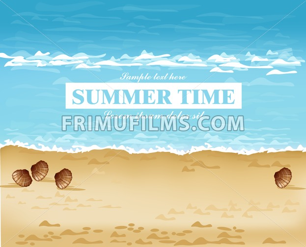 Beach shore summer card Vector. Waves, blue sea and Sand background - frimufilms.com
