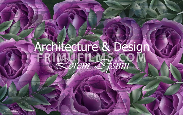 Beautiful Roses Background Post Card Vector Violet Roses Flowers