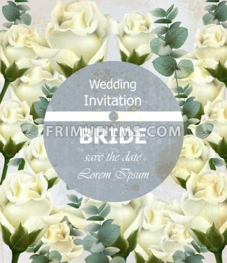 Beautiful wedding invitation with white roses flowers. Luxurious watercolor floral Vector card. Vintage decor design - frimufilms.com