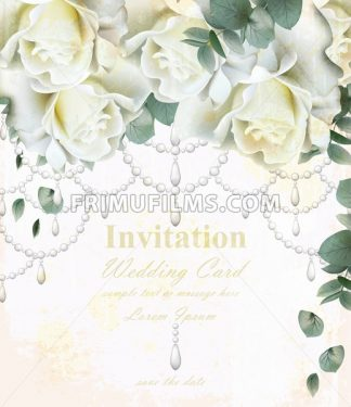 Beautiful wedding invitation with white roses flowers. Luxurious watercolor floral Vector card. Vintage jewellery decor design - frimufilms.com