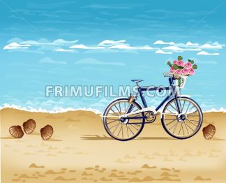 Bicycle on the beach card Vector realistic. Summer travel. Detailed 3d illustration - frimufilms.com