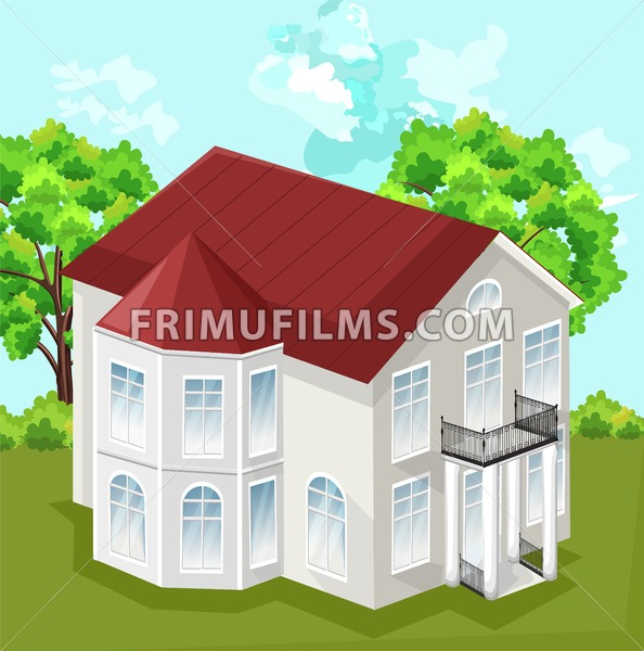 Big house Vector. White house classic style with 2 floors illustration - frimufilms.com