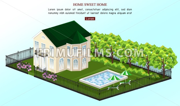 Big house Vector. White house classic style with pool outdoors illustration - frimufilms.com
