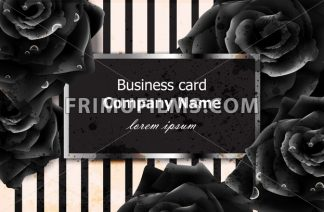 Black roses business card Vector. Elegant luxury flowers decor. Modern striped texture background - frimufilms.com