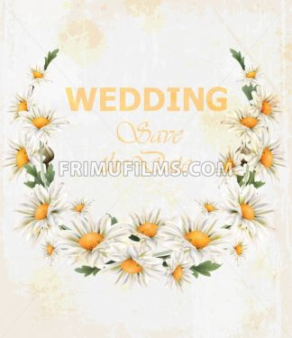 Chamomile flowers Wedding wreath card Vector. Beautiful spring frame vintage style - frimufilms.com