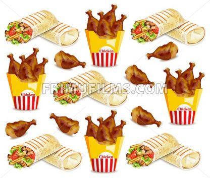 Chicken wings and shawarma Vector pattern. Fast food background - frimufilms.com