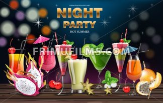 Cocktail drinks Vector realistic banner. Night party template with summer drinks collection. 3d illustration - frimufilms.com