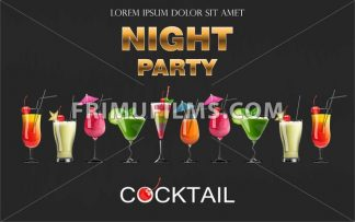 Cocktail drinks Vector realistic banner. Night party template with summer drinks set collection. 3d illustration - frimufilms.com