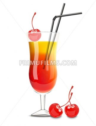 Cocktail glass Vector realistic. Cherry and orange summer drink - frimufilms.com